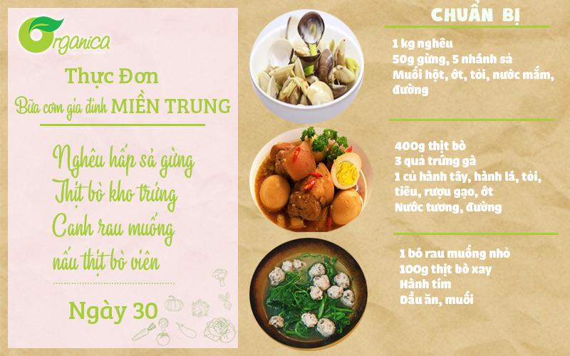 Ngày 30: Hướng dẫn nấu thực đơn bữa cơm gia đình miền Nam hấp dẫn thơm ngon