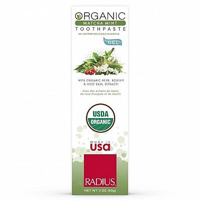 Kem đánh răng vị Bạc hà & Bột trà xanh hữu cơ RADIUS 85g